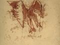 "Birds of a Feather No. 5 (""Unpleasant Bird""), monotype using oil paint on newsprint, 2/7/64"